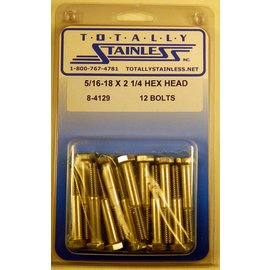 Totally Stainless 5/16-18 x 2 1/4 Stainless Hex Head Bolts