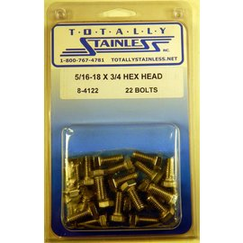 Totally Stainless 5/16-18 x 3/4 Stainless Hex Head Bolts