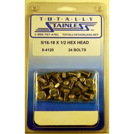 Totally Stainless 5/16-18 x 1/2 Stainless Hex Head Bolts