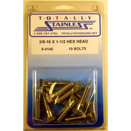 Totally Stainless 3/8-16 x 1 1/2 Stainless Hex Head Bolts