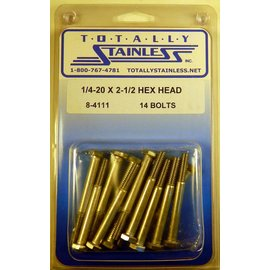 Totally Stainless 1/4-20 x 2 1/2 Stainless Hex Head Bolts