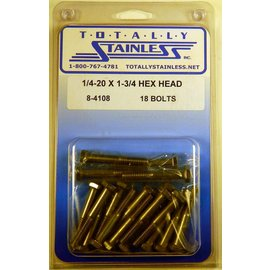 Totally Stainless 1/4-20 x 1 3/4 Stainless Hex Head Bolts