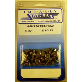 Totally Stainless 1/4-20 x 1/2 Hex Head Bolts- Panel 5 - #8-4101