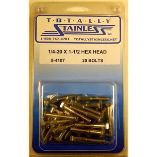 Totally Stainless 1/4-20 x 1 1/2 Stainless Hex Head Bolts