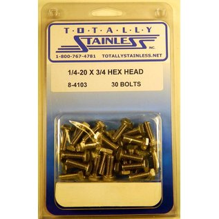 Totally Stainless 1/4-20 x 3/4 Stainless Hex Head Bolts