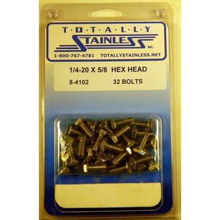 Totally Stainless 1/4-20 x 5/8 Stainless Hex Head Bolts