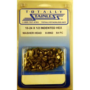 Totally Stainless 10-24 x 1/2 Stainless Indented Hex Washer Head Machine Screws