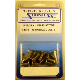 Totally Stainless 5/16-24 x 11/16 Stainless Flat Top Carriage Bolts