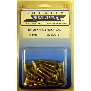 Totally Stainless 1/4-20 x 1 1/4 Stainless Hex Head Bolts