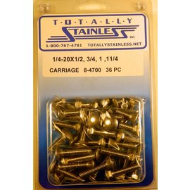 Totally Stainless 1/4-20 Stainless Assorted Carriage Head Bolts