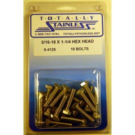 Totally Stainless 5/16-18 x 1 1/4 Stainless Hex Head Bolts