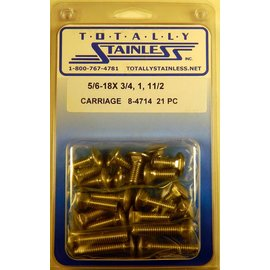 Totally Stainless 5/16-18 Stainless Assorted Carriage Head Bolts