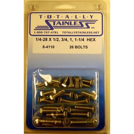 Totally Stainless 1/4-28 x 1/2, 3/4,1, 1 1/4 Stainless Hex Head Bolts