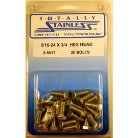 Totally Stainless 5/16-24 x 3/4 Stainless Hex Head Bolts