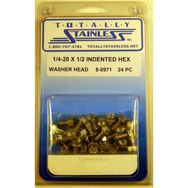 Totally Stainless 1/4-20 x 1/2 Indented Hex Washer Head Bolts - Panel 6 - #8-0971