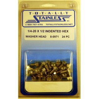 Totally Stainless 1/4-20 x 1/2 Stainless Indented Hex Washer Head Bolts