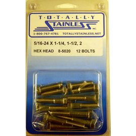 Totally Stainless 5/16-24 x 1 1/4, 1 1/2 & 2 Stainless Hex Head Bolts