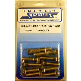 Totally Stainless 3/8-24 x 1-1/4, 1-1/2 & 2 Stainless Hex Head Bolts