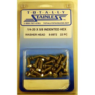 Totally Stainless 1/4-20 x 5/8 Stainless Indented Hex Washer Head Bolts