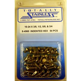 Totally Stainless 10-24 Stainless Indented Hex Washer Head Machine Screws