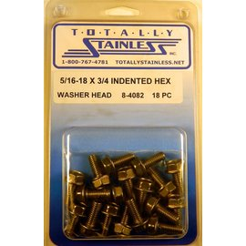 Totally Stainless 5/16-18 x 3/4 Stainless Indented Hex Washer Head Bolts
