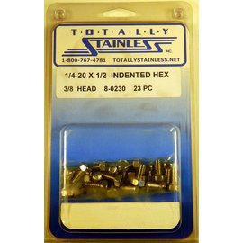 Totally Stainless 1/4-20 x 1/2 Stainless Indented Head Hex Bolts