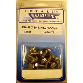 Totally Stainless 5/16-18 x 3/4 Stainless Indented Hex Flange Head Bolts