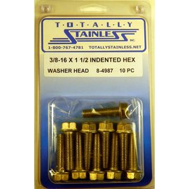 Totally Stainless 3/8-16 x 1 1/2 Stainless Indented Hex Washer Head Bolts