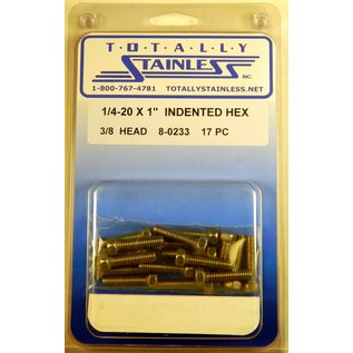 """Totally Stainless 1/4-20 x 1"""" Stainless Indented Head Hex Bolts"""
