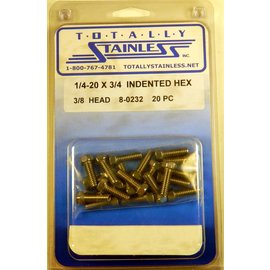 "Totally Stainless 1/4-20 x 3/4"" Stainless Indented Head Hex Bolts"