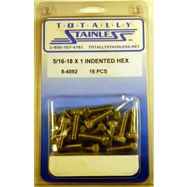 Totally Stainless 5/16-18 x 1 Stainless Indented Head Hex Bolts