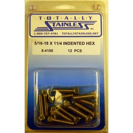 Totally Stainless 5/16-18 x 1-1/4 Stainless Indented Head Hex Bolts