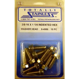 Totally Stainless 3/8-16 x 1 1/4 Stainless Indented Washer Head  Hex Bolts