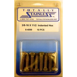 Totally Stainless 3/8-16 x 1 1/2 Indented Head Hex Bolts - Panel 6 - #8-4099