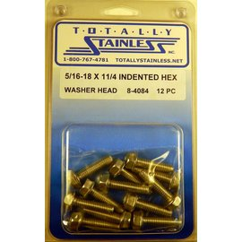 Totally Stainless 5/16-18 x 1 1/4 Indented Hex Washer Head Bolts- Panel 6 - #8-4084