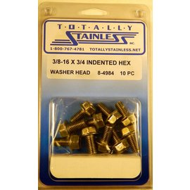 Totally Stainless 3/8-16 x 3/4 Stainless Indented Hex Washer Head Bolts