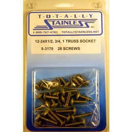 Totally Stainless 12-24 x 1/2, 3/4, & 1 Truss Head Allen Machine Screws - Panel 7 - #8-3170