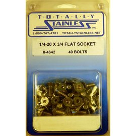 "Totally Stainless 1/4-20 x 3/4"" Stainless Flat Socket Head Bolts"