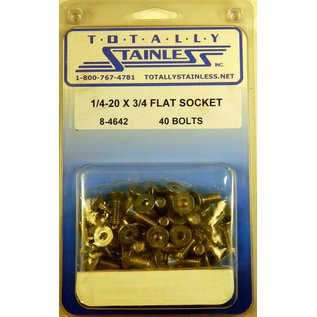 """Totally Stainless 1/4-20 x 3/4"""" Stainless Flat Socket Head Bolts"""