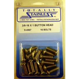 "Totally Stainless 3/8-16 x 1"" Stainless Button Head Bolts"