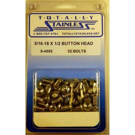 """Totally Stainless 5/16-18 x 1/2"""" Stainless Button Head Bolts"""