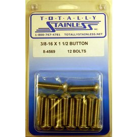 "Totally Stainless 3/8-16 x 1 1/2"" Stainless Button Head Bolts"
