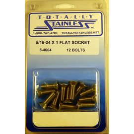"Totally Stainless 5/16-24 x 1"" Stainless Flat Socket Head Bolts"