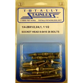Totally Stainless 1/4-28 Assorted Socket Head Bolts - Panel 8 (G3) - #8-0410
