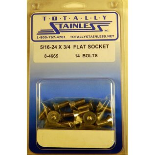"Totally Stainless 5/16-24 x 3/4"" Stainless Flat Socket Head Bolts"