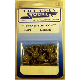 "Totally Stainless 5/16-18 x 3/4"" Stainless Flat Socket Head Bolts"