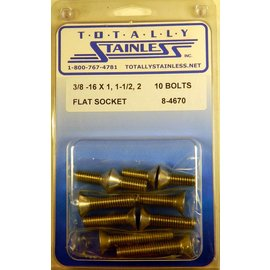 "Totally Stainless 3/8-16 x 1-1/2 & 2"" Stainless Flat Socket Head Bolts"