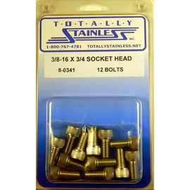 "Totally Stainless 3/8-16 x 3/4"" Stainless Socket Head Bolts"