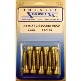 "Totally Stainless 3/8-16 x 1-3/4"" Stainless Socket Head Bolts"