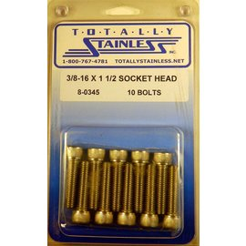"Totally Stainless 3/8-16 x 1-1/2"" Stainless Socket Head Bolts"